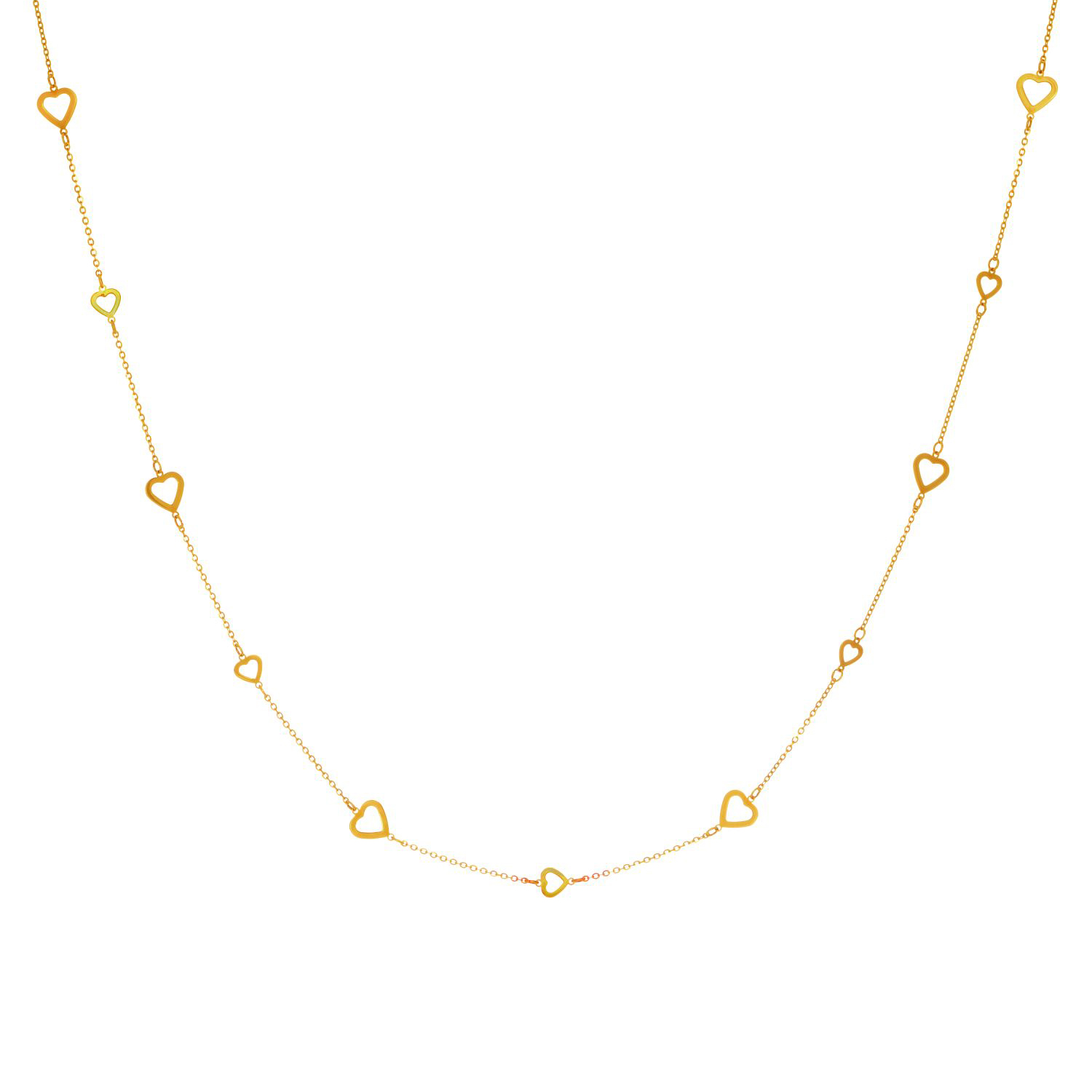 """14k Yellow Gold Alternate Small And Large Open Heart Pattern Necklace 36"""" by JewelStop"""