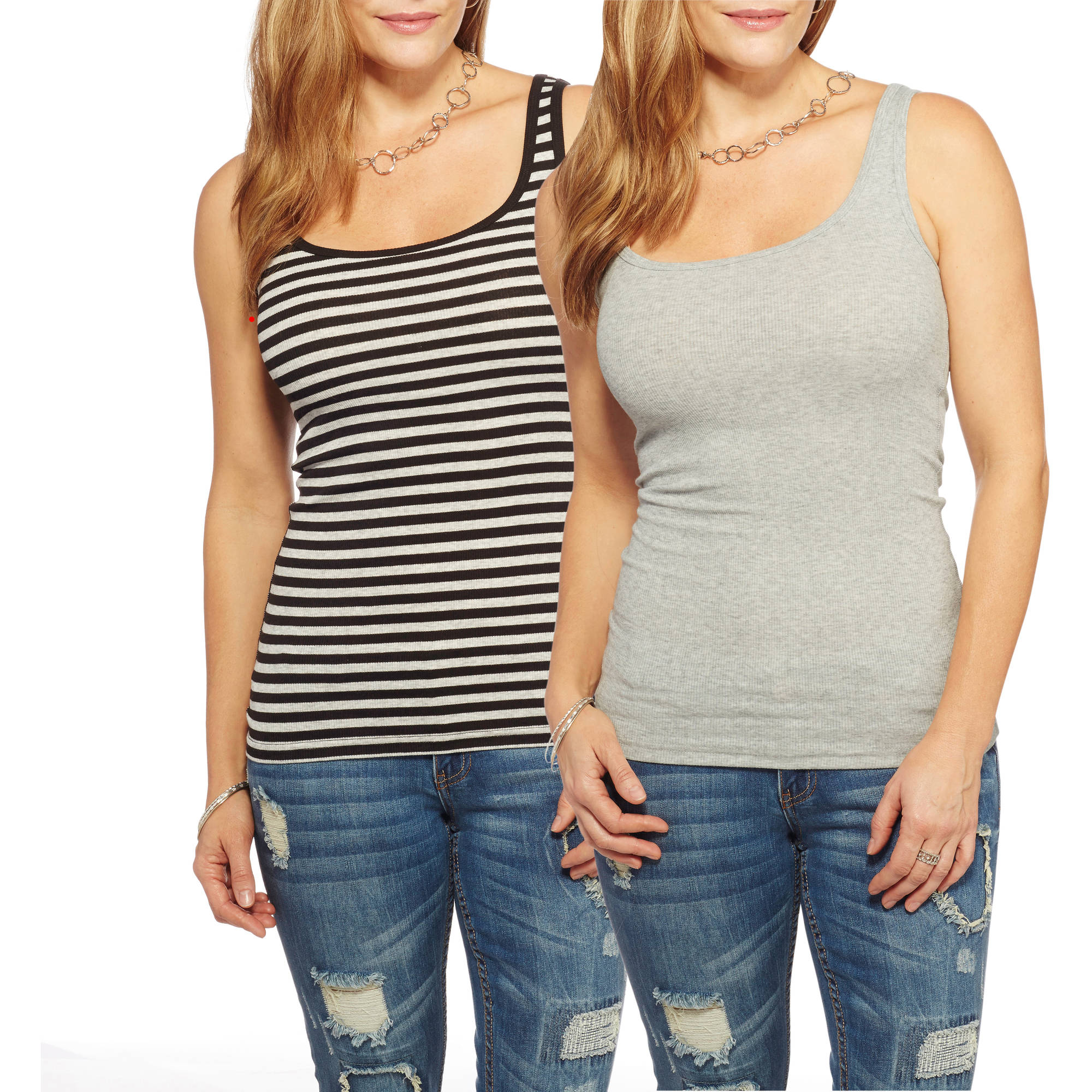 Faded Glory Women's Essential Rib Tank, 2 Pack Value Bundle