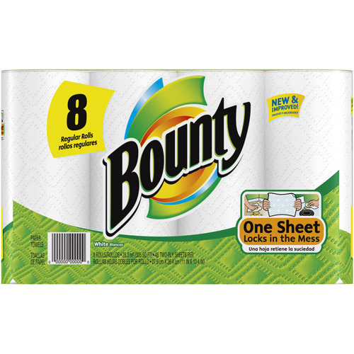 Bounty Paper Towels, 8 Regular Rolls