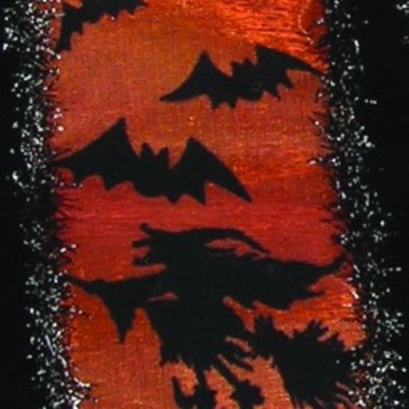 Metallic Sheer Black and Orange Halloween Witches and Bats Wired Craft Ribbon 2.5