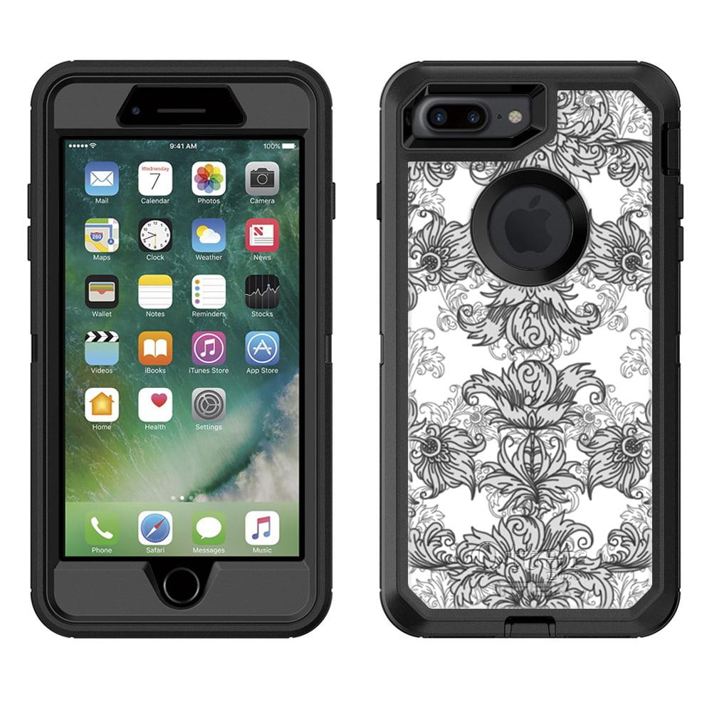 Otterbox Defender Apple iPhone 7 Plus Case - Elegant Grey Floral Lace on White Apple iPhone 7 Plus OtterBox Case