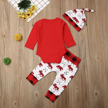Xmas 3Pcs Clohes for Newborn Baby Girls Boys Outfits My 1st Christmas Red Long Sleeve Romper Tops Plaid Pants Hat 0-18M - image 5 of 5