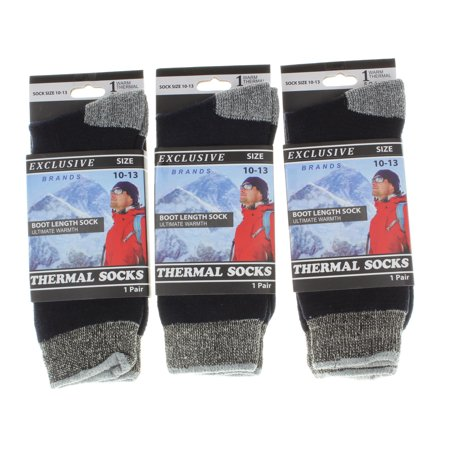 Boot Length Socks (3 Pairs Cold Weather Thermal Socks For Men Boot Length Size 10-13 Black and Gray)