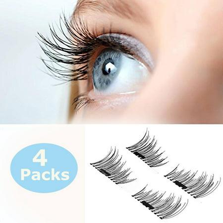 8ab0a1d714c Magnetic eyelashes,Single Magnetic False Eyelashes - 1 Pairs (4 Pieces) Ultra  Thin