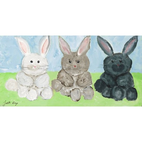 Judith Raye Paintings LLC Three Bunnies by Judith Raye Painting Print