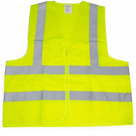 Hi Visibility Vest (2 Pockets High Visibility Neon Green Front Zipper Safety Vest with Reflective Strips ANSI ISEA, XLarge )