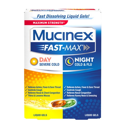 Mucinex Fast-Max Day Severe Cold & Night Cold & Flu Liquid Gels Value Pack Ages 12+, 24 count