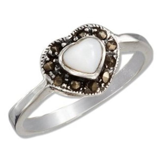 Plum Island Silver P-011435-06 Sterling Silver 5mm Mother of Pearl Heart with Marcasite Border Ring - Size 6