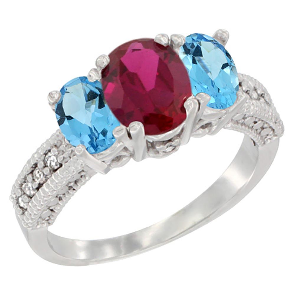 14K White Gold Diamond Enhanced Ruby Ring Oval 3-stone with Swiss Blue Topaz, sizes 5 - 10