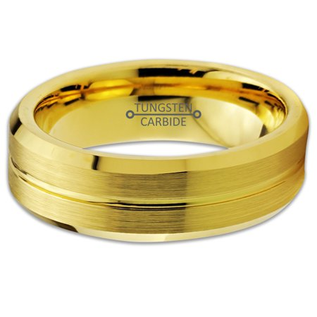 Tungsten Wedding Band Ring 6mm for Men Women Comfort Fit 18K Yellow Gold Plated Beveled Edge Brushed Polished Lifetime Guarantee - image 2 de 5