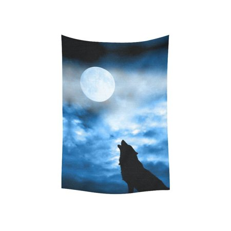 Animal Safari Wall Hangings - GCKG Glow in the Dark Full Moon Wolf Tapestry Wall Hanging Safari Animal Wall Decor Art for Living Room Bedroom Dorm Cotton Linen Decoration 40 x 60 Inches