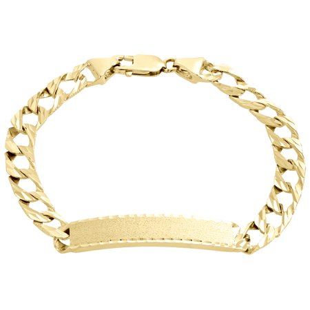 Mens Real 10K Yellow Gold Diamond Cut Cuban Link Fancy ID Bracelet 9.50mm | (Fancy Yellow Diamond Bracelet)