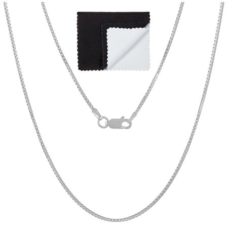 925 Sterling Silver Nickel-Free 1.2mm Box Chain Necklace, 16 inches - Made In Italy + Cleaning (Best Way To Clean Sterling Silver)