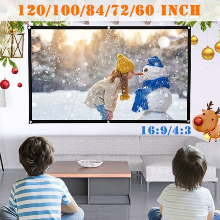 4:3 HD Projector Screen High Contrast Collapsible 4K Home Outdoor Cinema Christmas Party 3D Film Office Meeting Projection W/Hooks-White FOR WORLD CUP +4-6 holes+(60