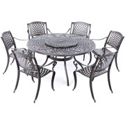 """Alfresco Home Westbury Cast Aluminum Dining Set With 59"""" Round Dining Table With Umbrella Hole and Lazy Susan and 6 Stackable Dining Arm Chairs"""