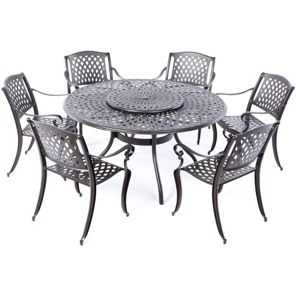 Alfresco Home Westbury Cast Aluminum, Outdoor Patio Table And Chairs With Umbrella Hole
