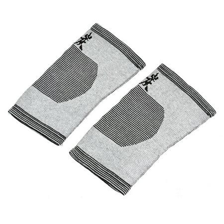 Black Strip Pad (Sport Spandex Strips Printed Stretch Knee Support Pad Protector Gray Black Pair )