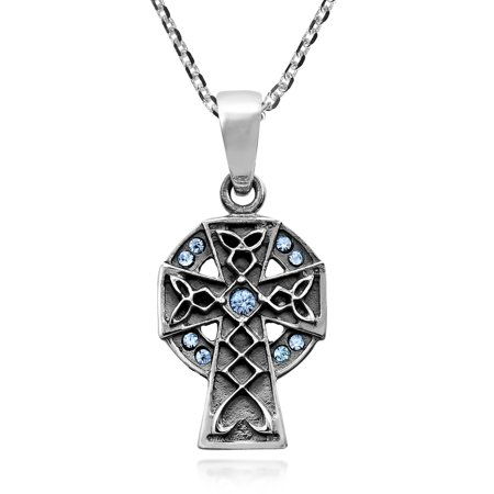 Perpetual Celtic Cross with Blue Cubic Zirconia Pendant Sterling Silver Necklace Celtic Zirconia Cross
