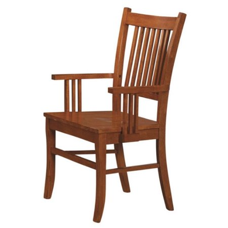 Bowery Hill Slat Back Mission Dining Arm Chair in Warm Medium Brown (Mission Style Open Slat)