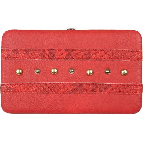 Brinley Co Womens Stud Detail Checkbook Clutch Wallet