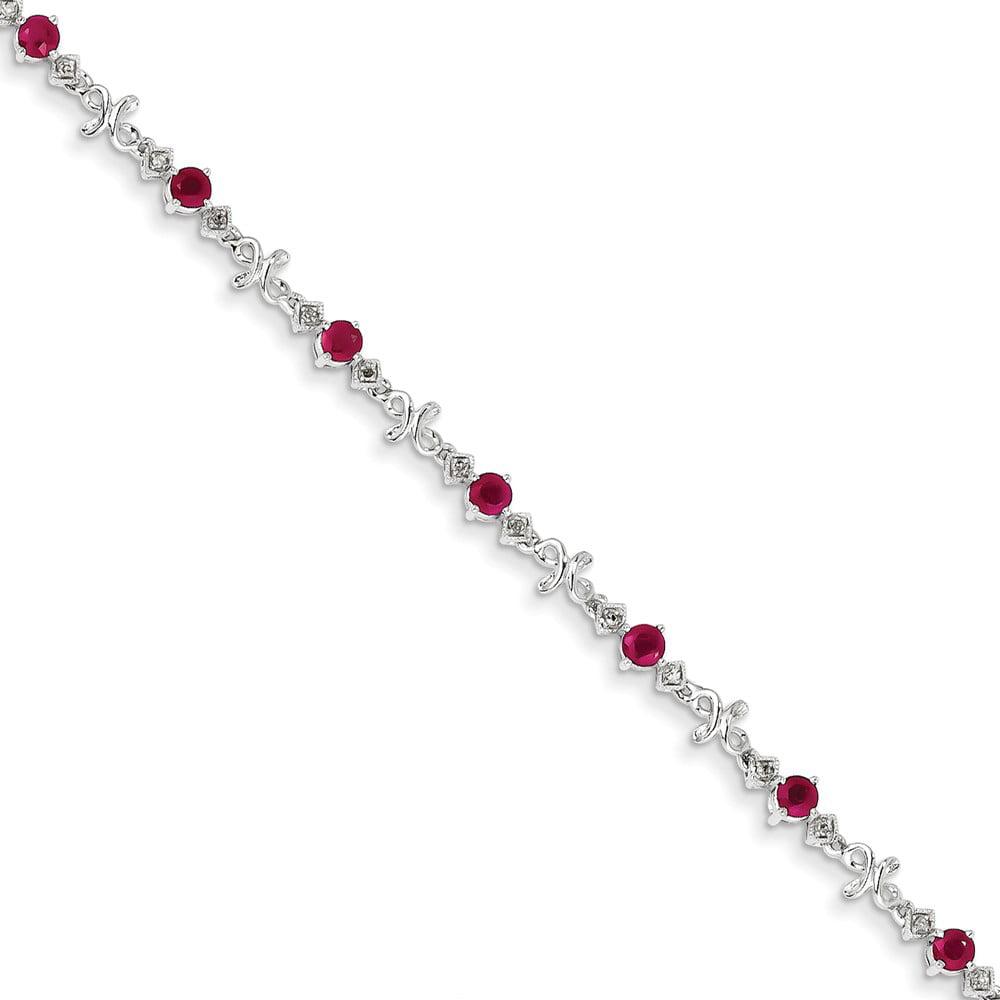 14K White Gold Diamond and Ruby Bracelet. Carat Wt- 0.1ct. Gem Wt- 1.8ct