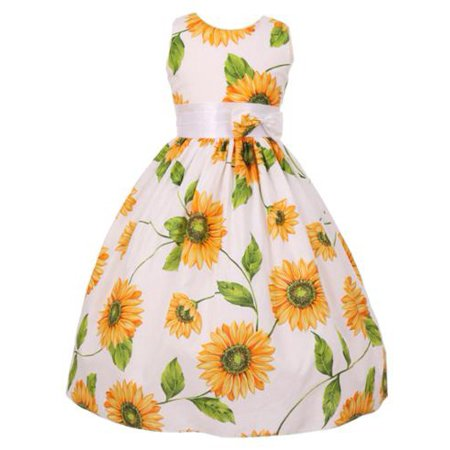 Big Girls Yellow Sunflower Print Bow Attached Flower Girl Dress - Printed Flower Girl Dresses