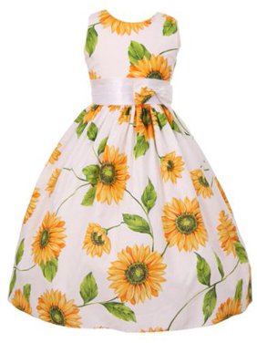 bb71881ce Product Image Big Girls Yellow Sunflower Print Bow Attached Flower Girl  Dress 8
