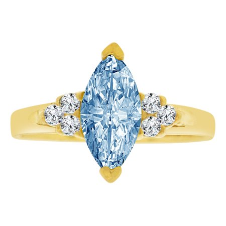 Simple Marquise - 14k Yellow Gold, Simple Classic Ring Created Color Marquise CZ Synthetic Mar Birthstones