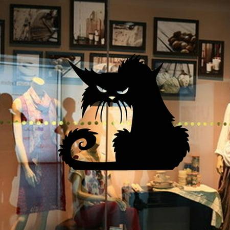 Halloween Vinyl Wall Decals (Vinyl Removable 3D Wall Sticker Halloween Black Cat Decor Decals For Walls)