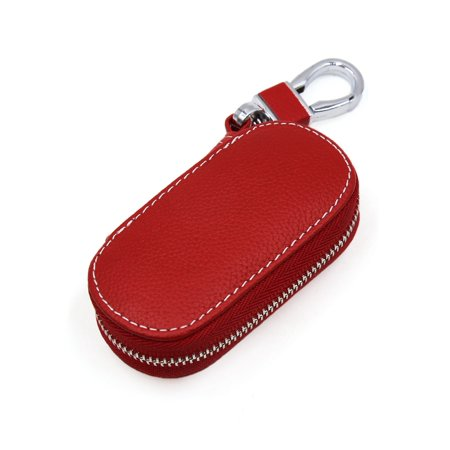Multifunctional Red Faux Leather Oval Zip-up Car Remote Keychain Holder Bag