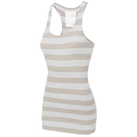 Ucla Ribbed Tank Top - FashionOutfit Women's Basic Sleeveless Ribbed Racer-Back Wide Stripe Tight Fit Tank Top