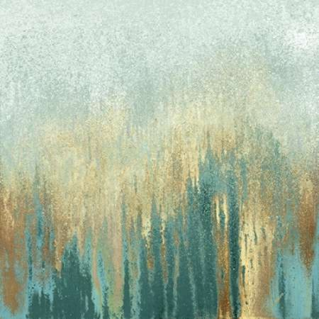 Teal Woods in Gold I Canvas Art - Roberto Gonzalez (24 x 24)