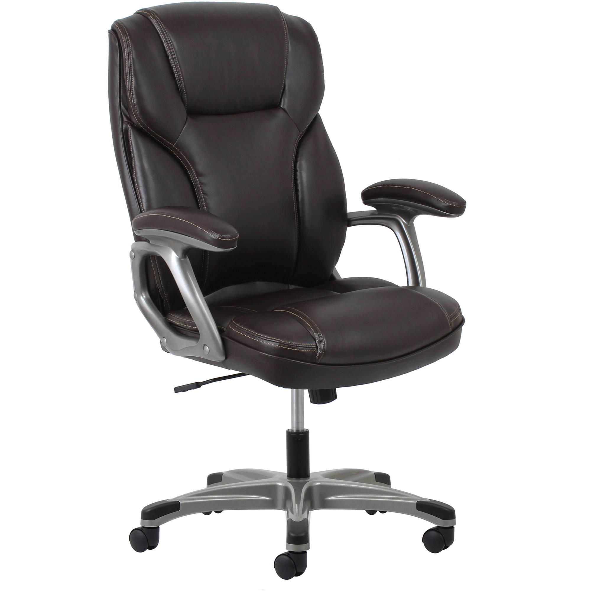 Essentials by OFM Ergonomic High-Back Leather Executive Office Chair with Arms, Brown/Silver