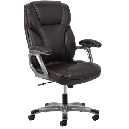 Essentials By Ofm Ergonomic High Back Leather Executive Office Chair With Arms  Brown Silver