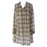 Lunn Women's Diva Plaid Button Down Shirt Dress 3 (L) Vanille