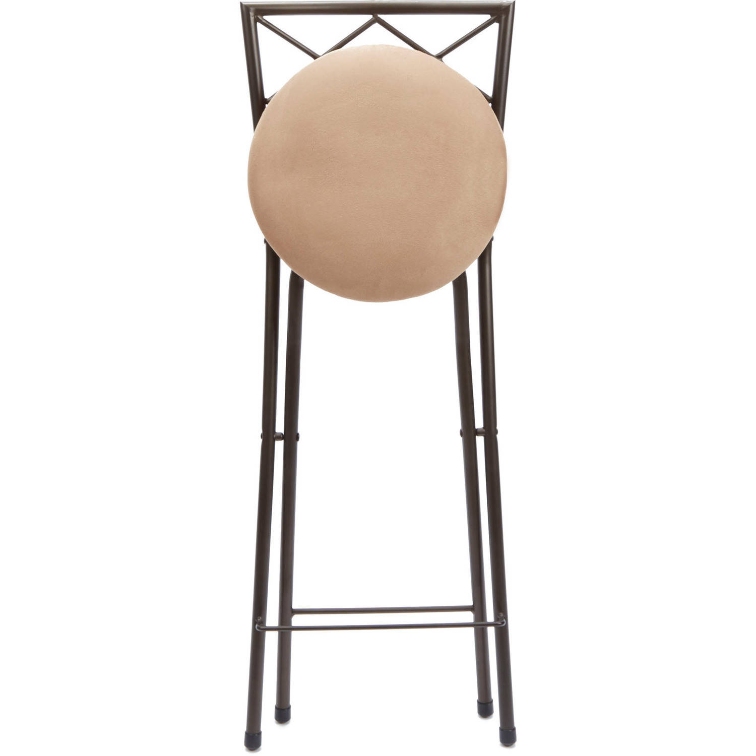 Folding Bar Stools Set Back 30 Bronze Beige Microfiber