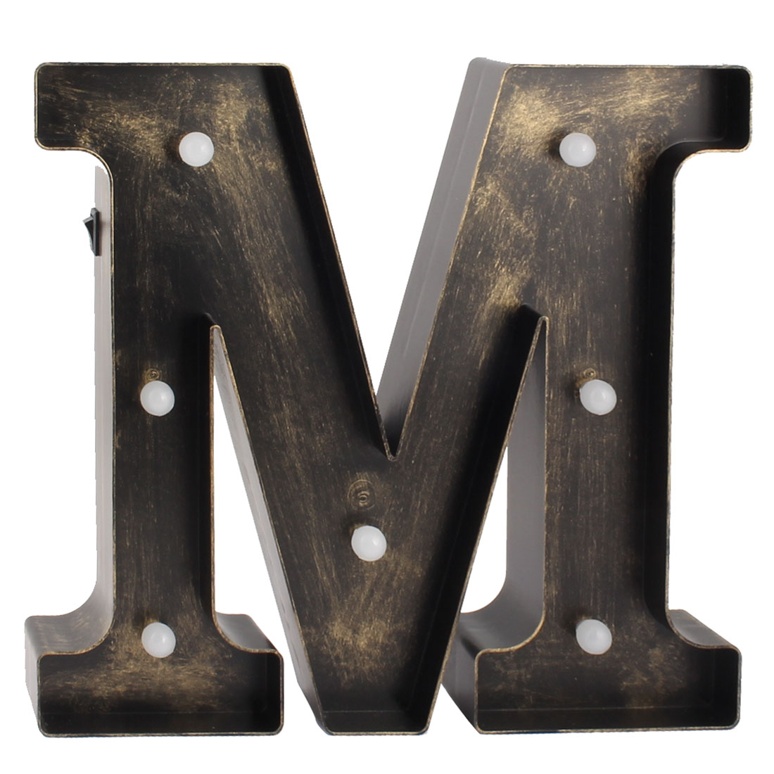 Coffee Shop Plastic English M Letter Alphabet DIY Hanging LED Light Bronze Tone - image 1 of 1