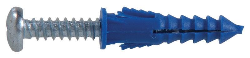 L Plastic  Round Head Ribbed Anchor  100 pk Hillman  0.164 in x 1-1//4 in Dia