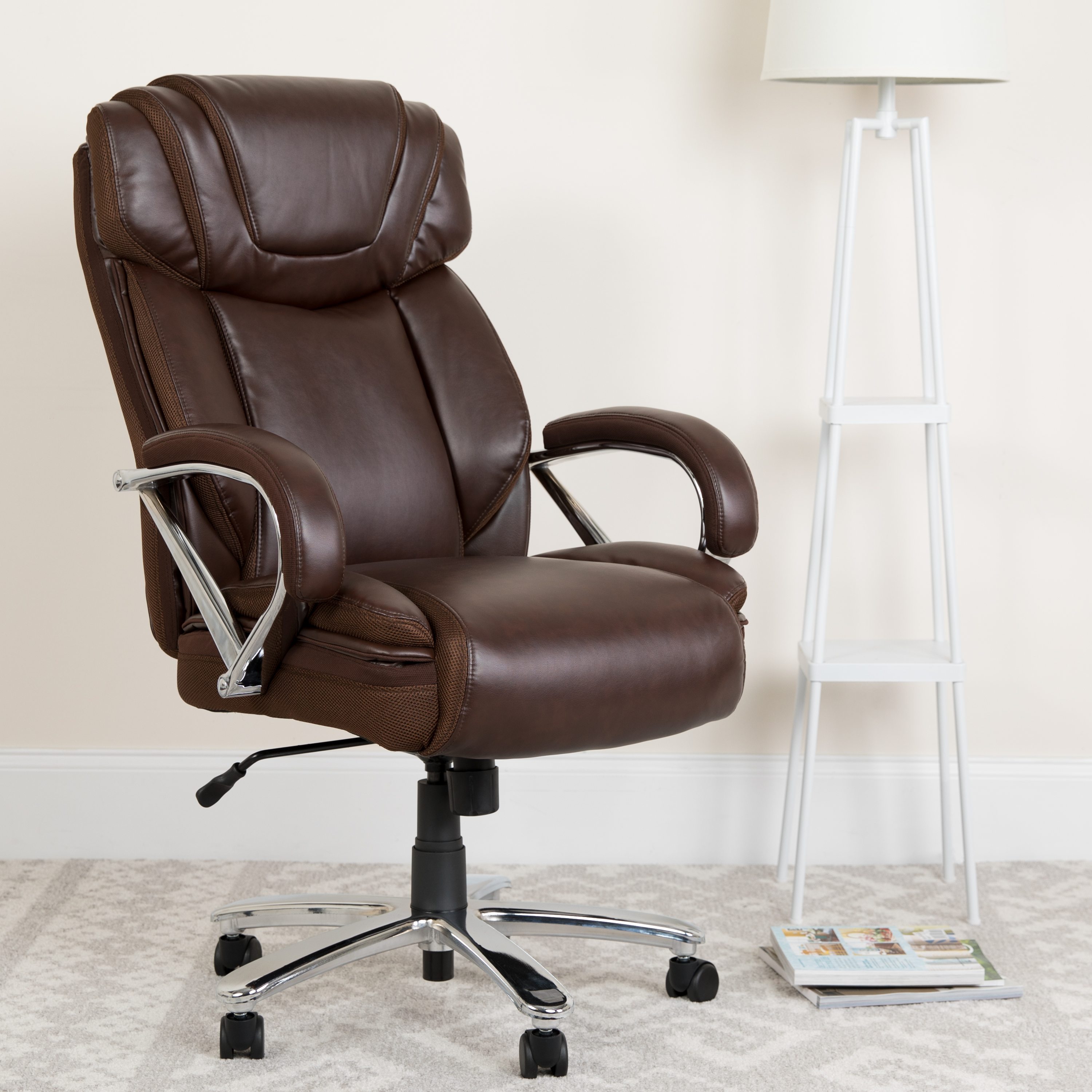 Picture of: Flash Furniture Hercules Series Big Tall 500 Lb Rated Brown Leathersoft Executive Swivel Ergonomic Office Chair With Extra Wide Seat Walmart Com Walmart Com