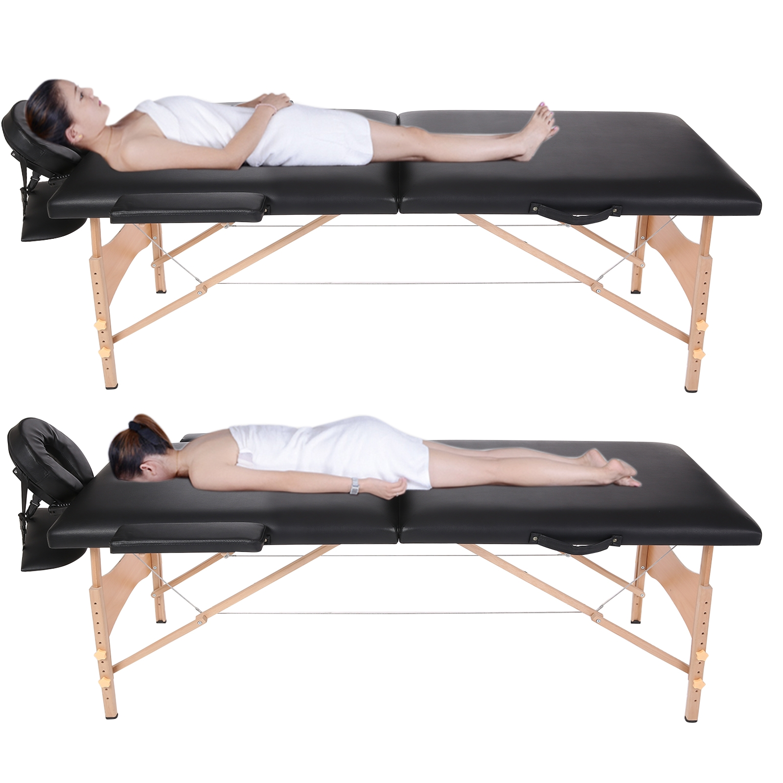 Portable Massage Table Two-Fold Pad Chair Bed Spa with Ca...