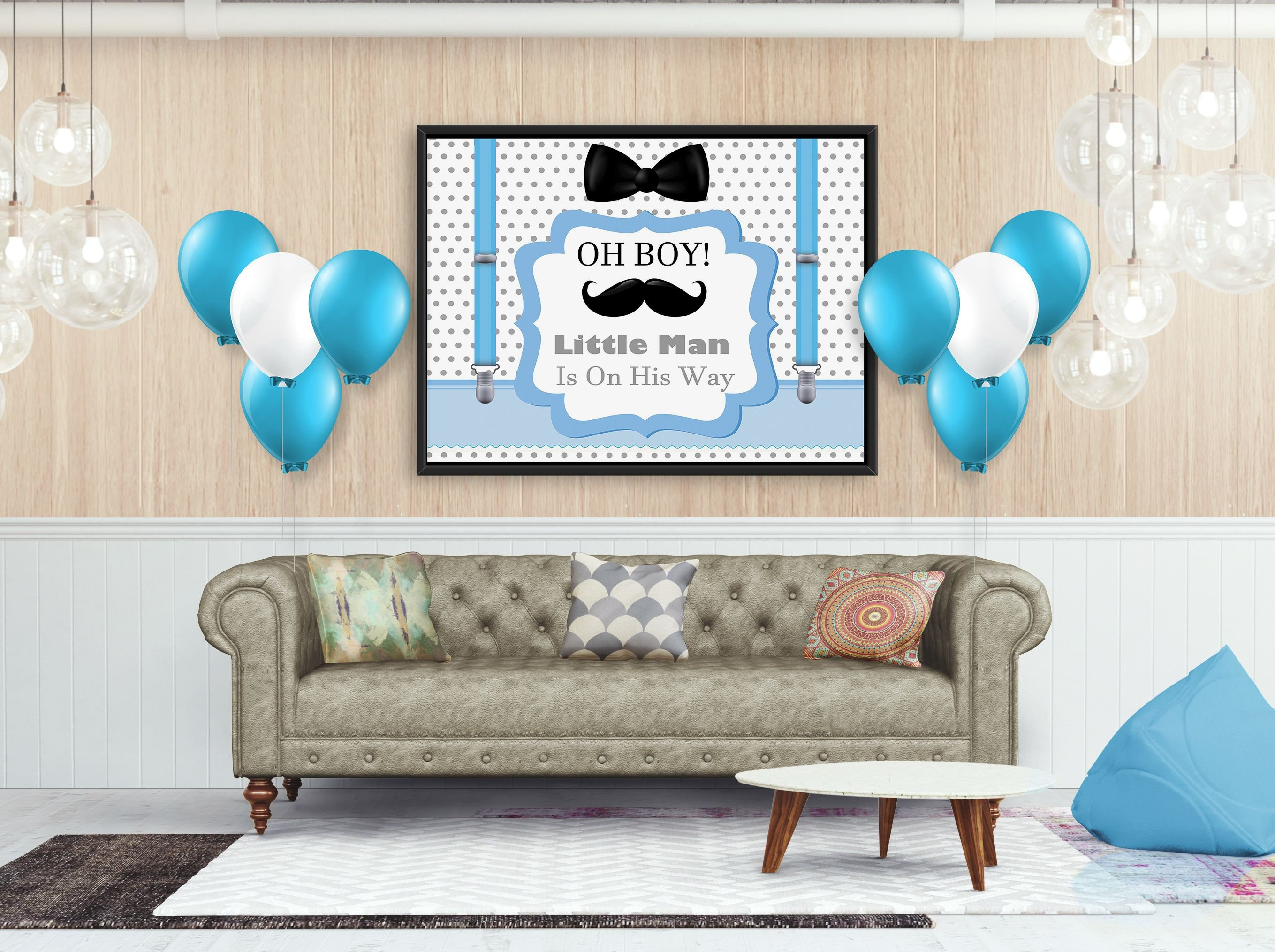 Blue with Bow Boy Baby Shower Banner Party Backdrop