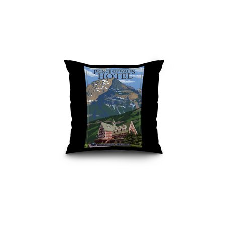 Waterton Lakes National Park  Canada   Prince Of Wales Hotel   Lantern Press Artwork  16X16 Spun Polyester Pillow  Black Border