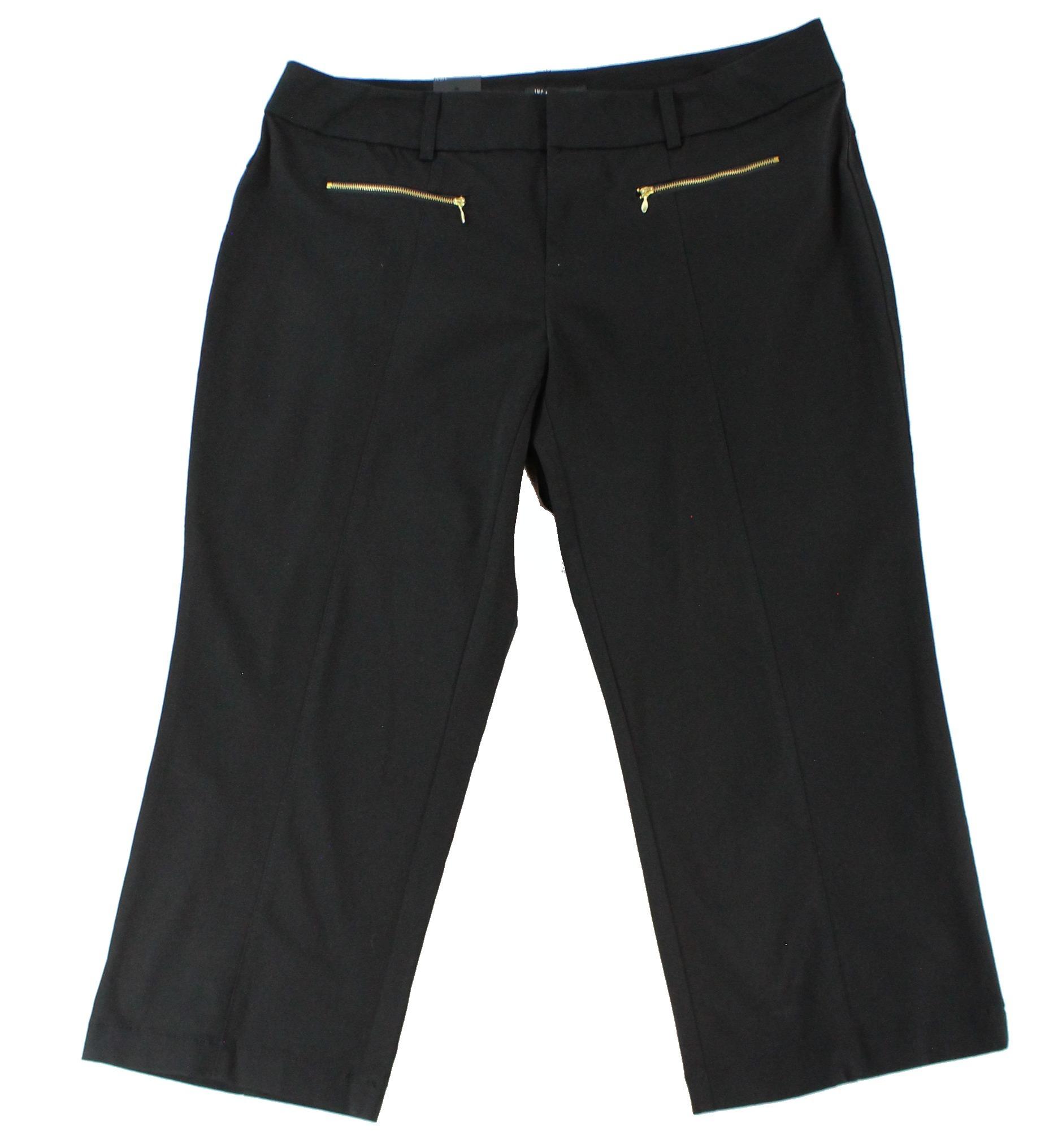 INC NEW Deep Black Womens Size 22W Plus Straight-Leg Cropped Pants