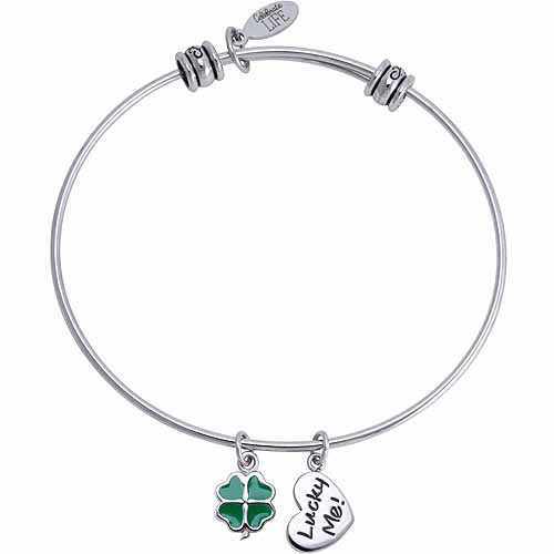 Connections from Hallmark Stainless Steel Clover Multi-Charm Bangle