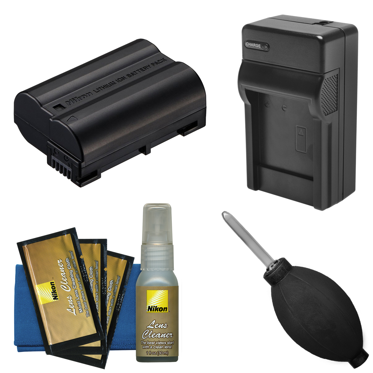 Nikon EN-EL15 Rechargeable Li-ion Battery with Charger + Nikon Cleaning Kit