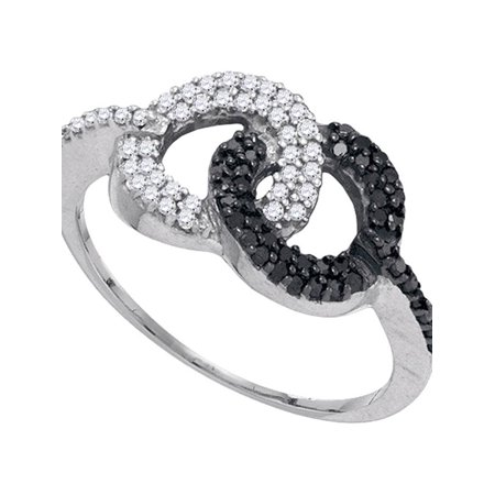 10kt White Gold Womens Round Black Color Enhanced Diamond Circle Cluster Ring 1/3 Cttw - image 1 of 1