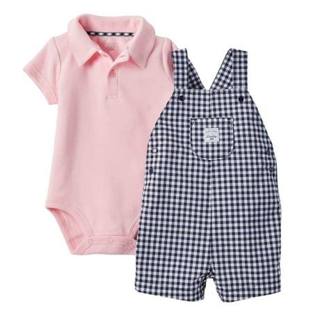 Carters Infant Boys 2-Piece Pink Bodysuit Navy Checkered Shortall Shorts Set