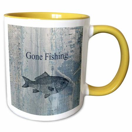3dRose Gone Fishing White wash wood look beach theme art - Two Tone Yellow Mug, - Fishing Themed Wedding
