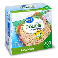 Great Value Double Zipper Sandwich Bags, 300 Count