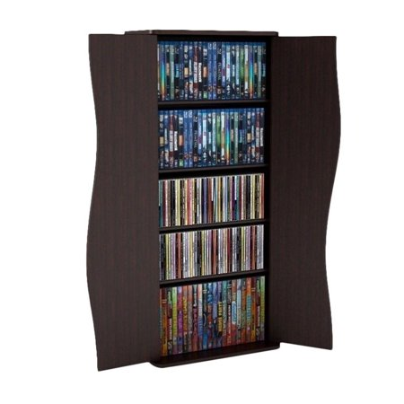 "Atlantic 35"" Venus Small Media Storage Shelf & Cabinet (198 CDs, 88 DVDs, 180 BluRays), Espresso"